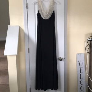 Cachet beaded cowl neck gown